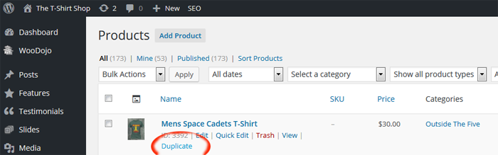 screen shot how to duplicate a product